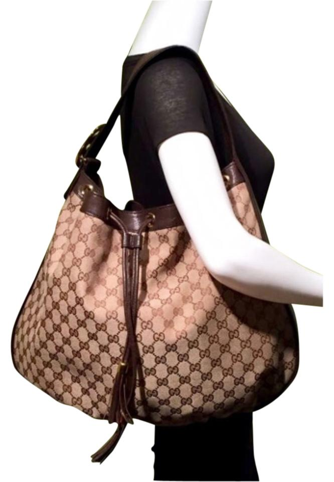21a7dc9e9f Gucci Signature Extra Large Drawstring Tassel with Tag Brown Canvas &  Leather Hobo Bag 38% off retail