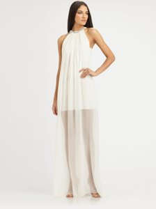 Erin Fetherston White Embellished Peekaboo Hem Halter Maxi Dress Wedding Dress
