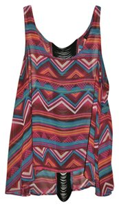 Material Girl Fringe Tribal Aztec Clubbing Top black, teal, orange