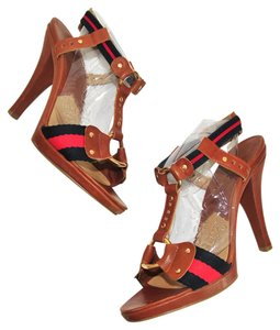 Michael by Michael Kors Preppy Classic Brown w/Blue and Red Stripe Fabric Sandals