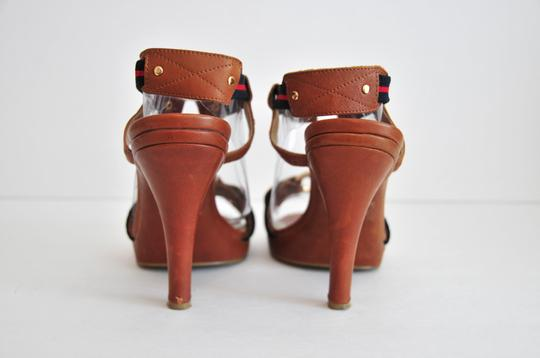 MICHAEL Michael Kors Preppy Classic Brown w/Blue and Red Stripe Fabric Sandals