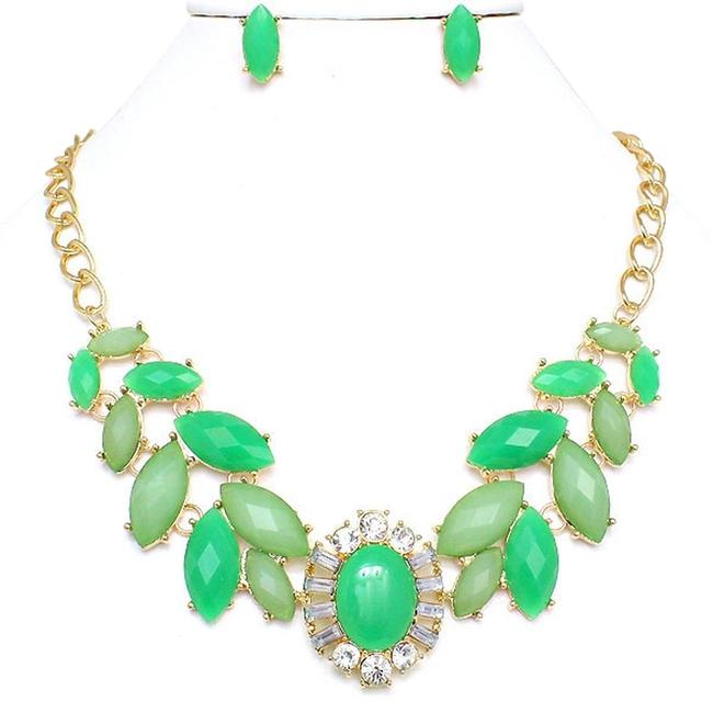 Green Gold Tone Clear Statement and Earring Necklace Green Gold Tone Clear Statement and Earring Necklace Image 1