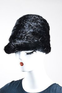 Vintage Black Mink Fur And Knit Train Conductor Style Hat