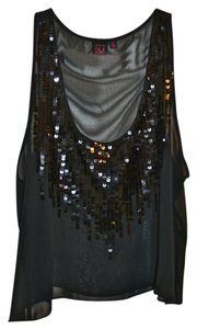 Material Girl Madonna Clubbing Crop Sequin Sheer Top navy