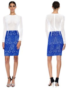 Yigal Azrouël Paisley Contrast Collection Skirt Blue, White