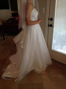 David's Bridal Lovely White Sleeveless Sheer Layer Bridal Gown Wedding Dress