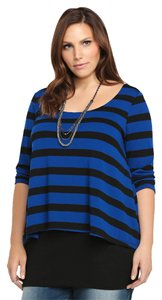Torrid Striped Two Layer Tunic 2x Top Black & Blue
