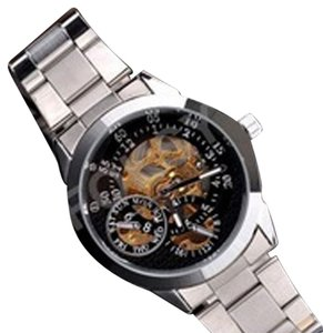 MCE Automatic Skeleton Watch With Silver & Tungsten Steel Watchband -FREE SHIPPING
