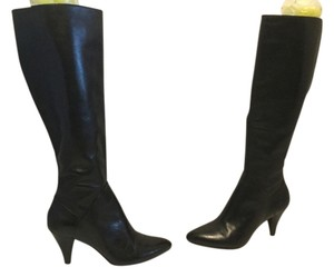 Via Spiga Leather Knee Black Boots