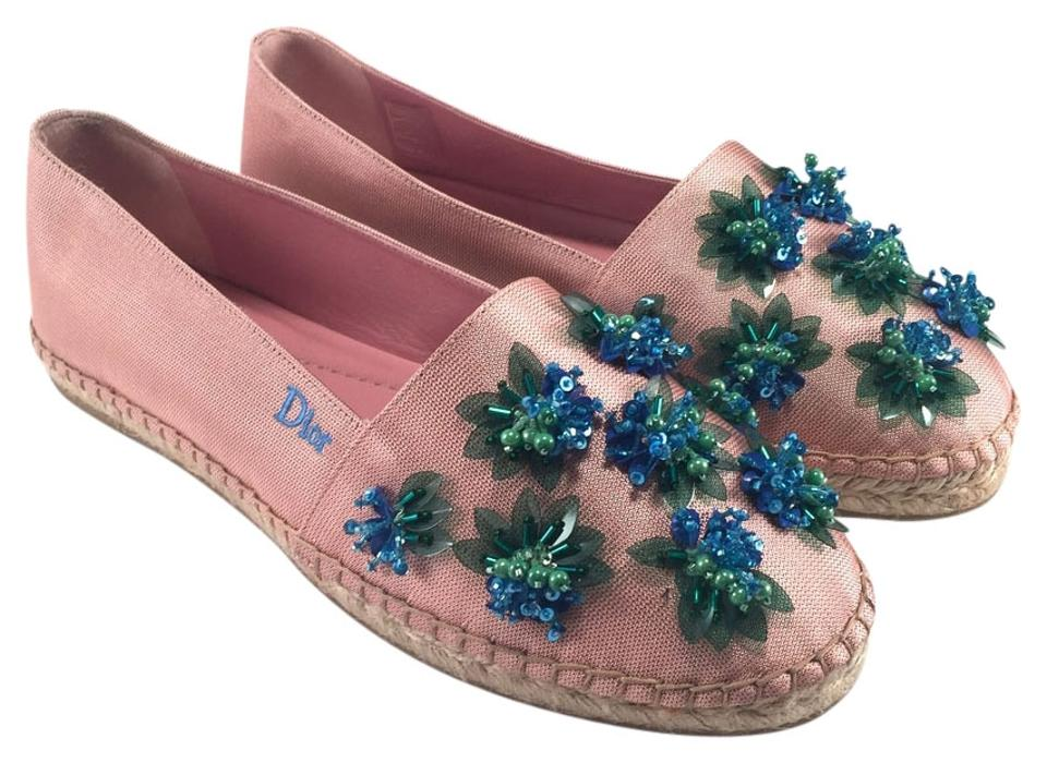 98c41b2bfe32 Dior Pink Jeweled Flower Beaded Canvas Espadrilles  455 Flats Size ...