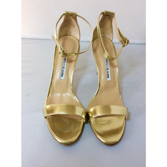 Manolo Blahnik Gold Sandals Image 3