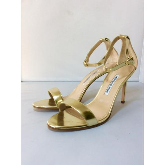 Manolo Blahnik Gold Sandals Image 4