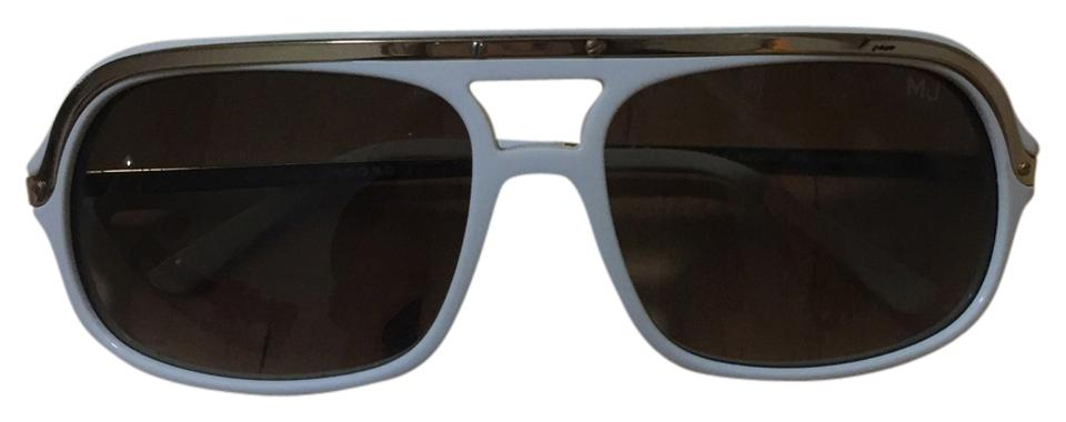 aeb4fc1d2859 Marc Jacobs White with Gold Aviator Sunglasses - Tradesy