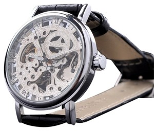MCE Automatic Men's Skeleton Watch With Fancy Silver Face-FREE SHIPPING