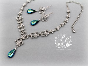 Bermuda Blue Crystal Earring and Necklace Jewelry Set