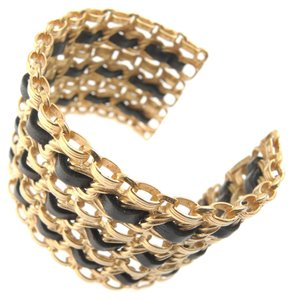 Chanel CHANEL VINTAGE BRACELET GOLD CHAIN CUFF BLACK LEATHER RARE WIDE BANGLE