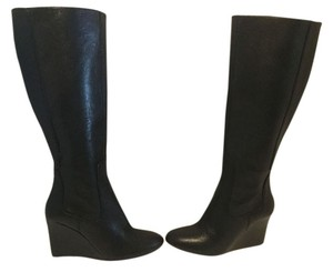 Nine West All Leather Upper Wedge Black Boots