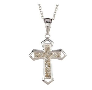 Olivia Leone Olivia Leone Necklace diamond/silver cross on chain