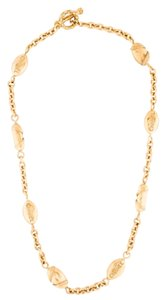 Chanel Chanel Vintage Gold Tone CC Metal Medallion Circle Chain Link Necklace