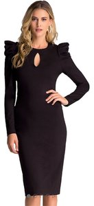 bebe Keyhole Midi Sleeves Lbd Dress