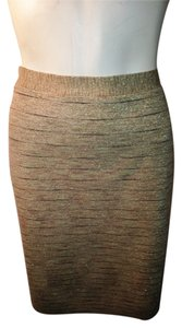 Michael Kors Evening Stretch Knit Metallic Bodycon Skirt Gold