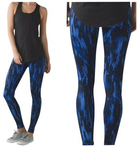 Lululemon New With Tags Lululemon Wunder Under Pants Hi Rise Size 6 Pask Blue And Black