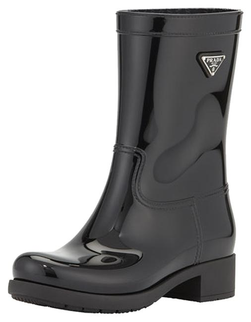 Item - Black Sport Glossy Rubber Ankle Rainboot Boots/Booties Size US 7 Regular (M, B)