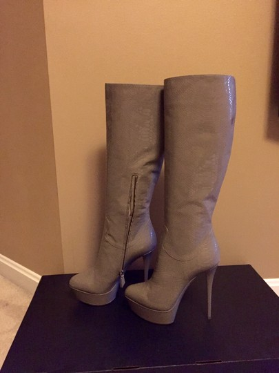 Casadei Platform Knee High Patent Leather Gray Boots Image 1