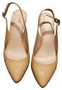 Vince Camuto Slingbacks Patent Leather Pointed Toe Nude Sandals