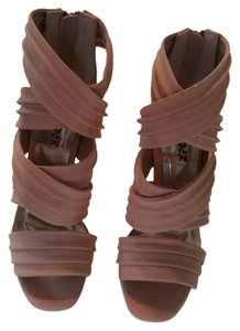 Bumper Dollhouse High Heels Heel Stiletto Platform Strappy Footwear Natural Nude Zipper Back Zip Closure Size 6 6 5 Inches Creamy Rose Pumps