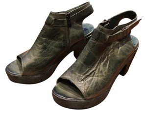 Antelope Ankle Platform Open-toed Leather Green Boots