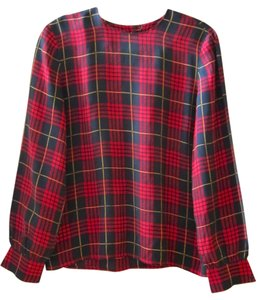 Vintage Silk Top Red Plaid