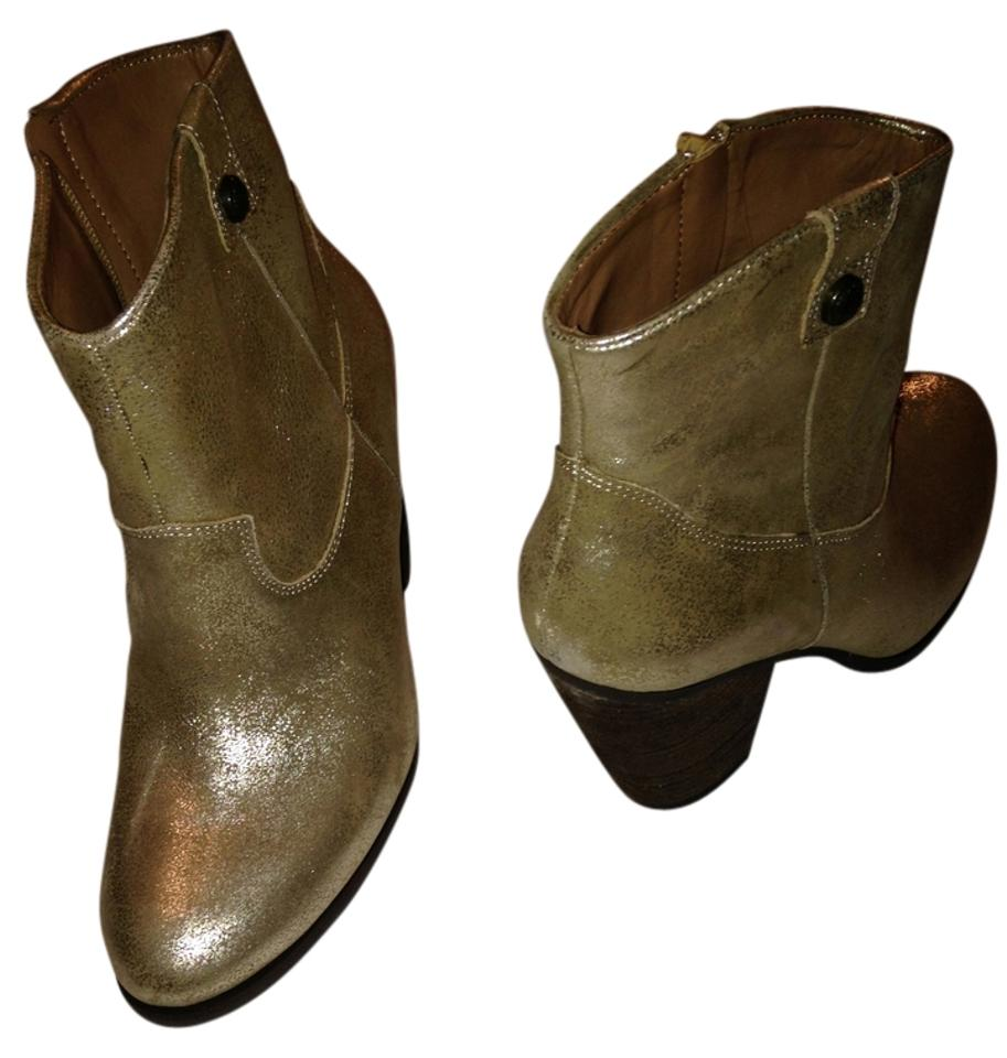 Vince Camuto Gold Distressed Distressed Gold Leather Boots/Booties c0f8f6