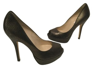 L.K. Bennett Stilettos Charcoal Gray Metallic all leather peep toe platform E37.5 Pumps