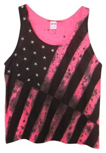 American Apparel Crop Studded Striped Top Neon Pink