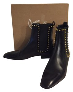 Christian Louboutin Studded Red Bottom Black Boots