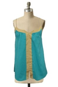 Lily White Tank Teal Gold Scoop Neck Cami Style Hi Lo Evening Top Green