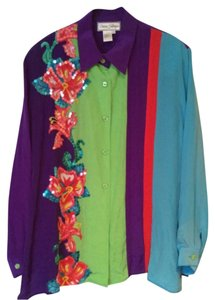 Diane Gilman Vintage Sequin Spring Floral Silk Button Down Shirt