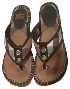 Burberry Sandals Nova Check Thong Sandals Espadrille Black Wedges