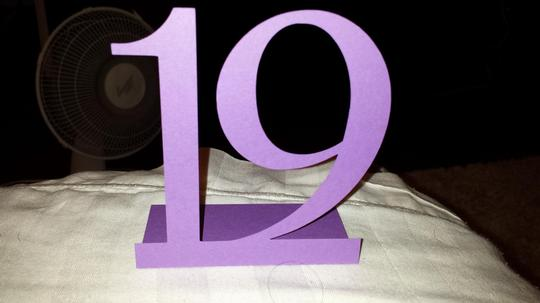 Purple Freestanding Table Numbers Die Cut 1 To 20 In Centerpiece