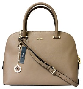 DKNY Bryant Park Saffiano Leather Round Satchel Brown Handbag - Leather Bryant Satchel Cross Body Bag