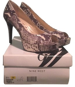 Nine West Gray and White, Snakeskin Platforms