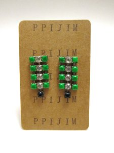 Other Vintage Neon Green Black Rhinestone Dangle Earrings