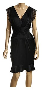 A.B.S. by Allen Schwartz V-neck Chiffon Satin Ruffle Dress