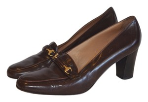 Gucci Leather Horse Bit Loafer Classic Brown Pumps