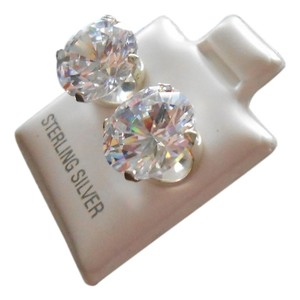 Sterling Silver .925 Cz Zirconia Synthetic Gemstones Stud Earrings