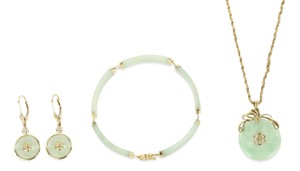Other Apple Jade 4 Piece Set with 14k Yellow Gold