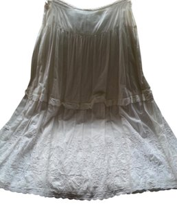 Newport News Maxi Ballet Embroidered Maxi Skirt pearl white