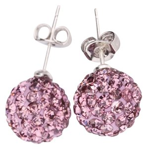 Other 10mm Pink Crystal Disco Ball Stud Earrings