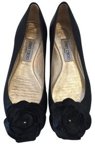Jimmy Choo Floral Applique At Toe Brass Plaques On Heel Box Padded Insole Makes Feel Slipper Like BLACK Flats
